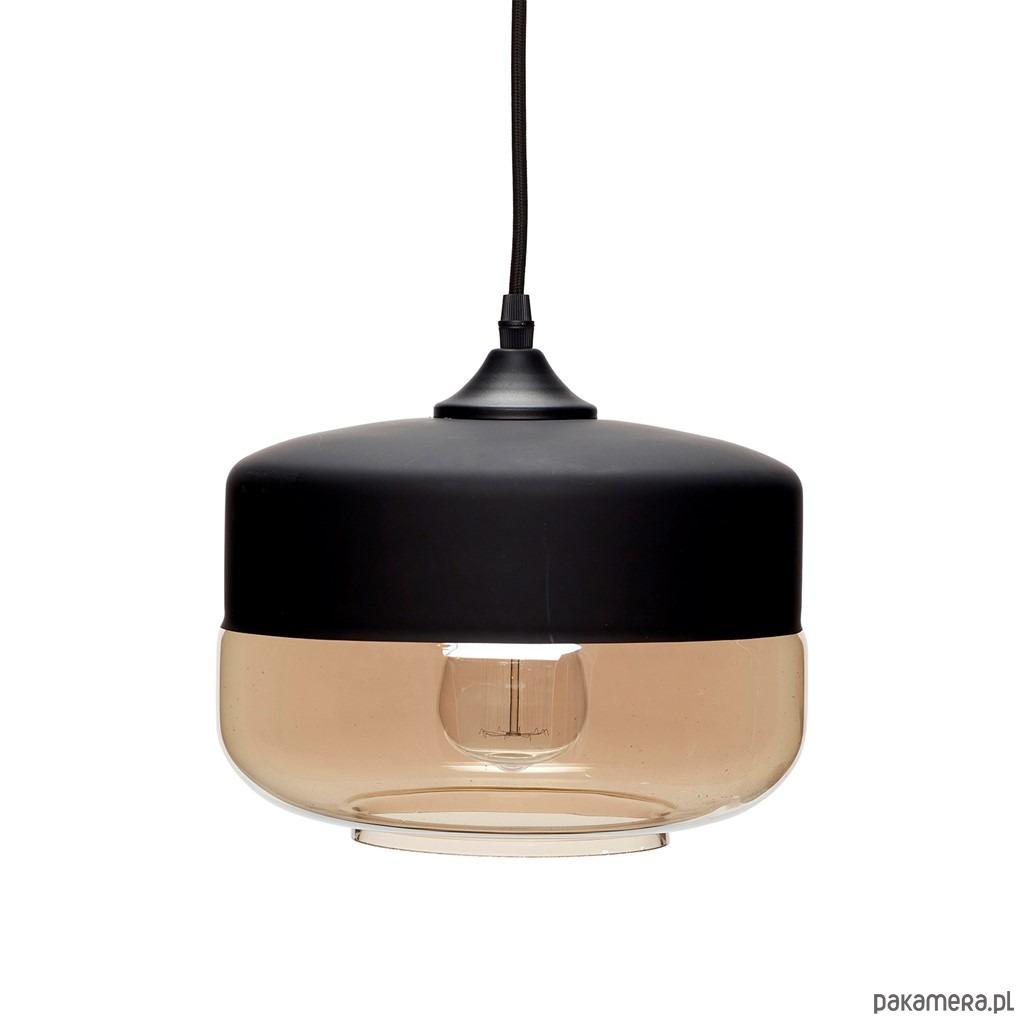 Lampa wisząca loft Edgar czarna szkło metal 25cm