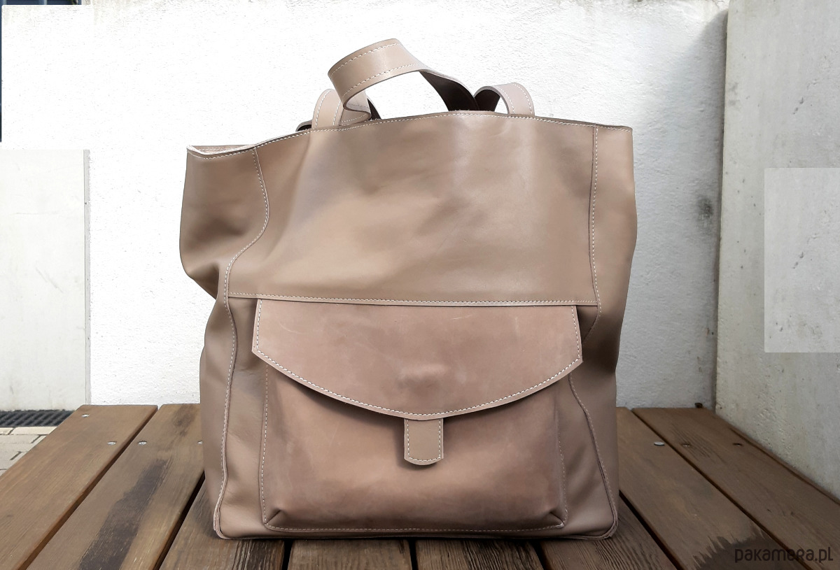 Duża beżowa taupe, skórzana torba