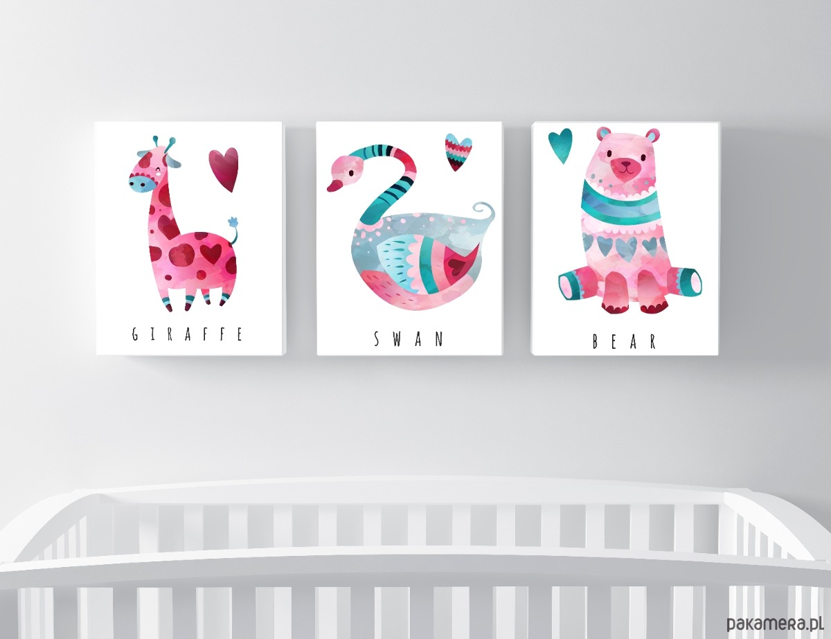 Zestaw 3 Plakatów żyrafa I Spółka A3 Pakamerapl