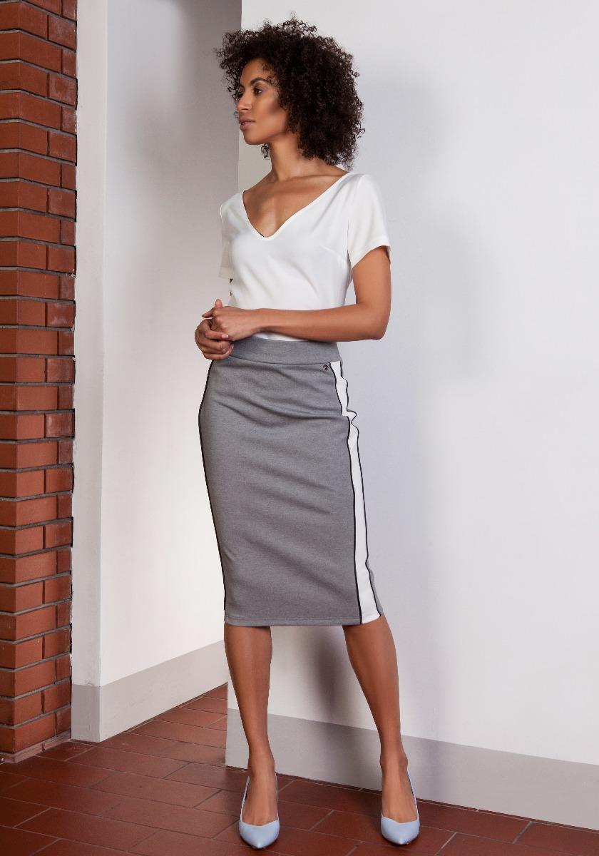 Ołówkowa spódnica z lampasami, SP117 szary spódnice midi
