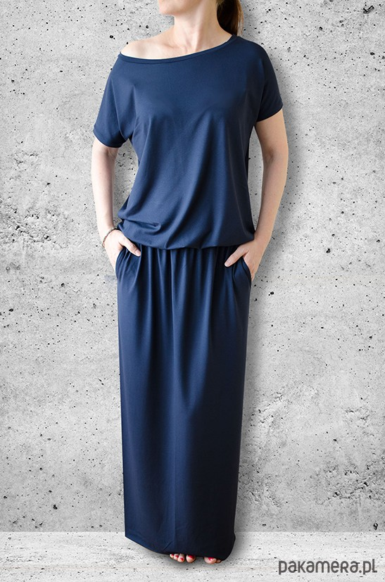 sukienka MAXI z kieszeniami - granat