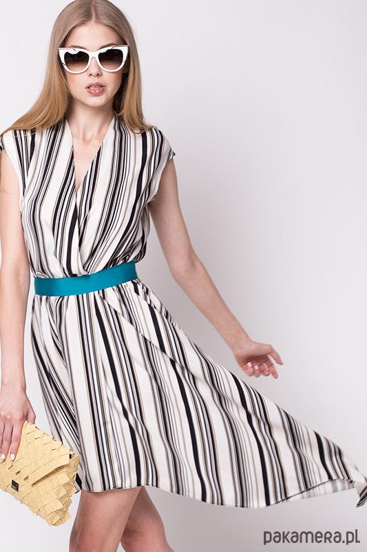 Asymetryczna sukienka CARO w pasy