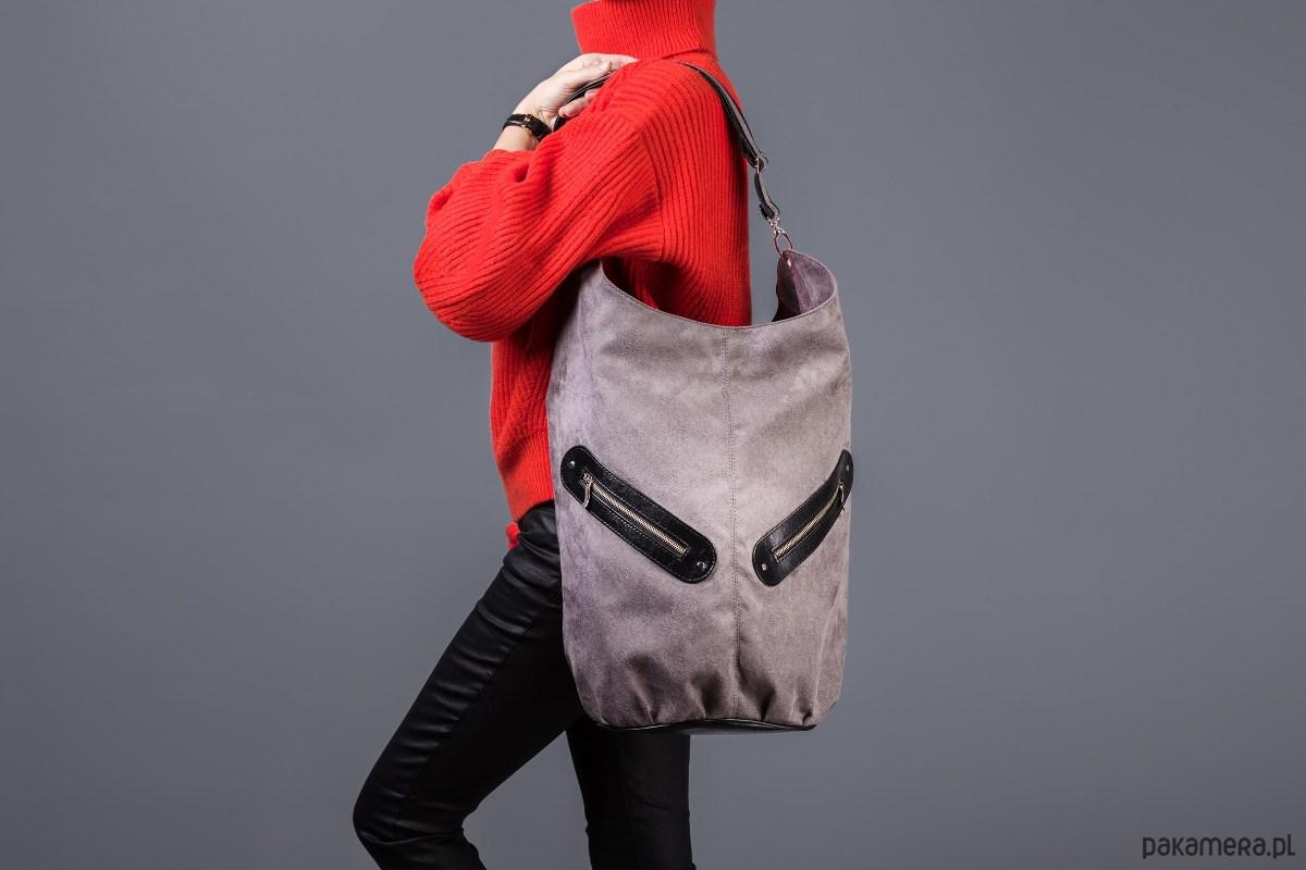 9b3a8ea14264f KOFI - duża torba worek - szara z czarnym - torby na ramię - damskie -  Pakamera.pl