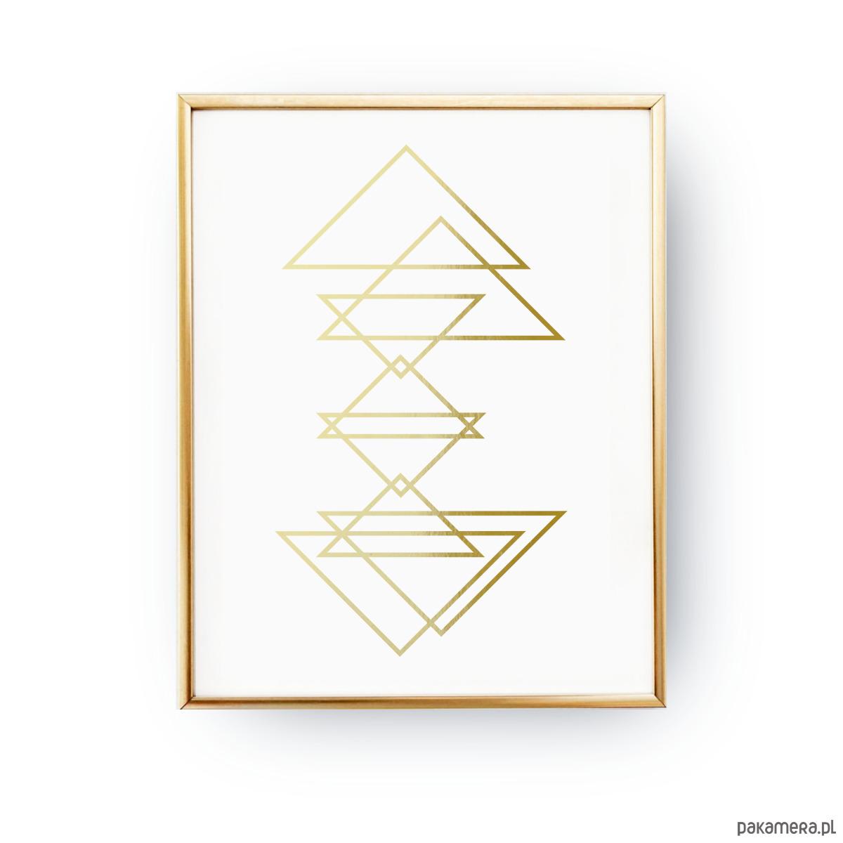 Geometryczne Trójkąty Złoty Druk Pakamerapl