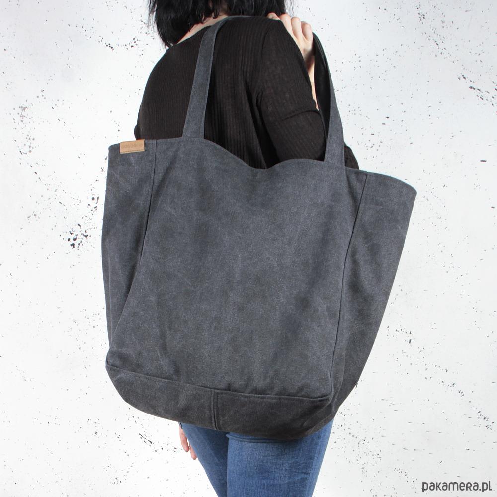04b89df584251 torby na ramię - damskie-Lazy bag torba czarna na zamek   vegan   eco