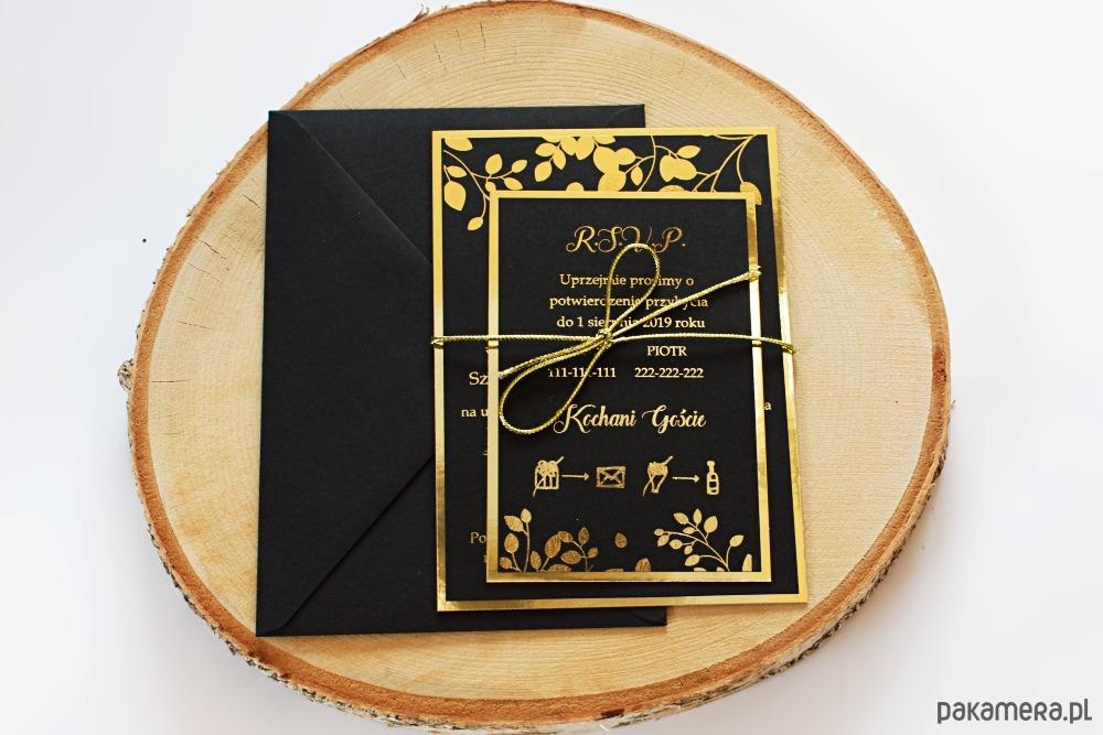 Zaproszenie ślubne Złoto Plus Kolor Czarny ślub Zaproszenia