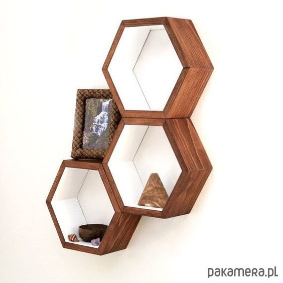 Heksagony komplet orzech półka - 2048498