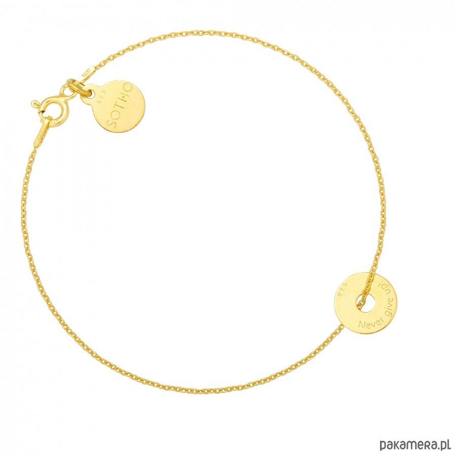 Złota bransoletka z małą karmą Never give up! - naszyjniki - minimalistyczne 4i6IuSIB