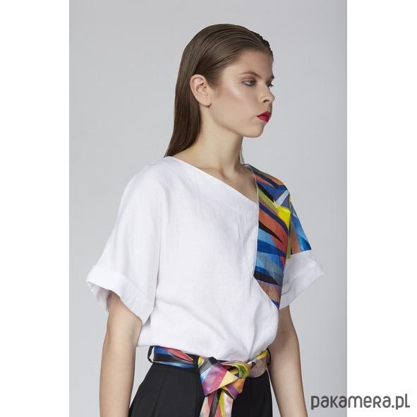 Lniana bluzka z malowaną grafiką