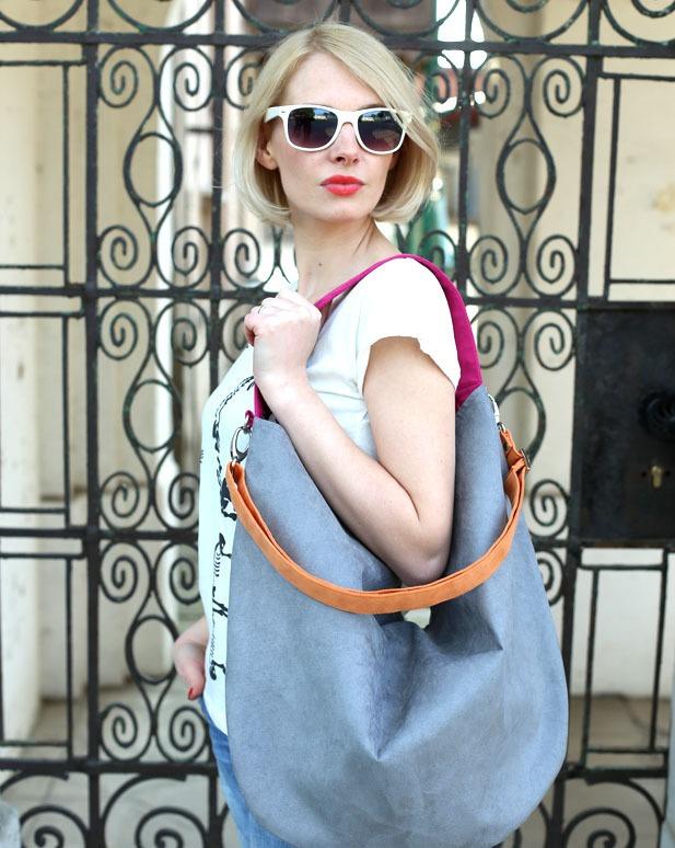 3415499292a19 Workowata torebka na ramię kolorowa granat Hobo - torby na ramię - damskie  - Pakamera.pl