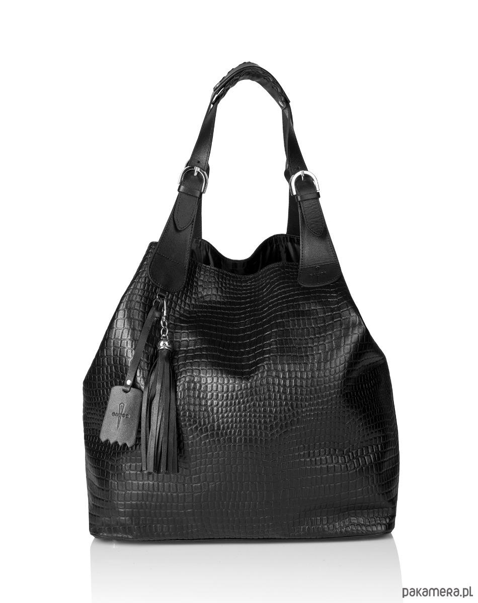 9ff2333fcb3ec torby XXL - damskie-Skórzana czarna torebka worek 2w1 Beatrice G-108