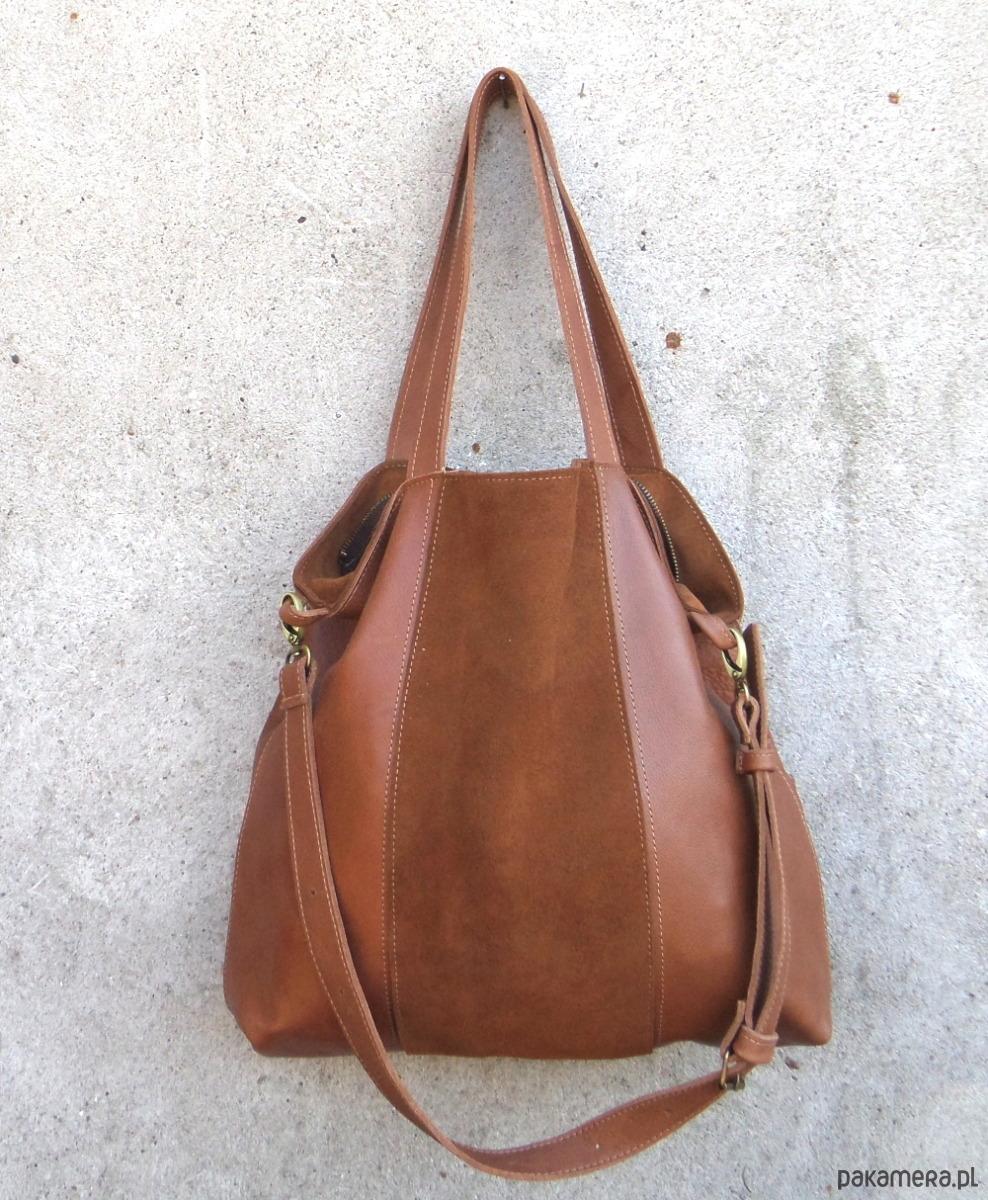 dd8bd90ba5e37 Brązowa skórzana torba na ramię - torby na ramię - damskie - Pakamera.pl