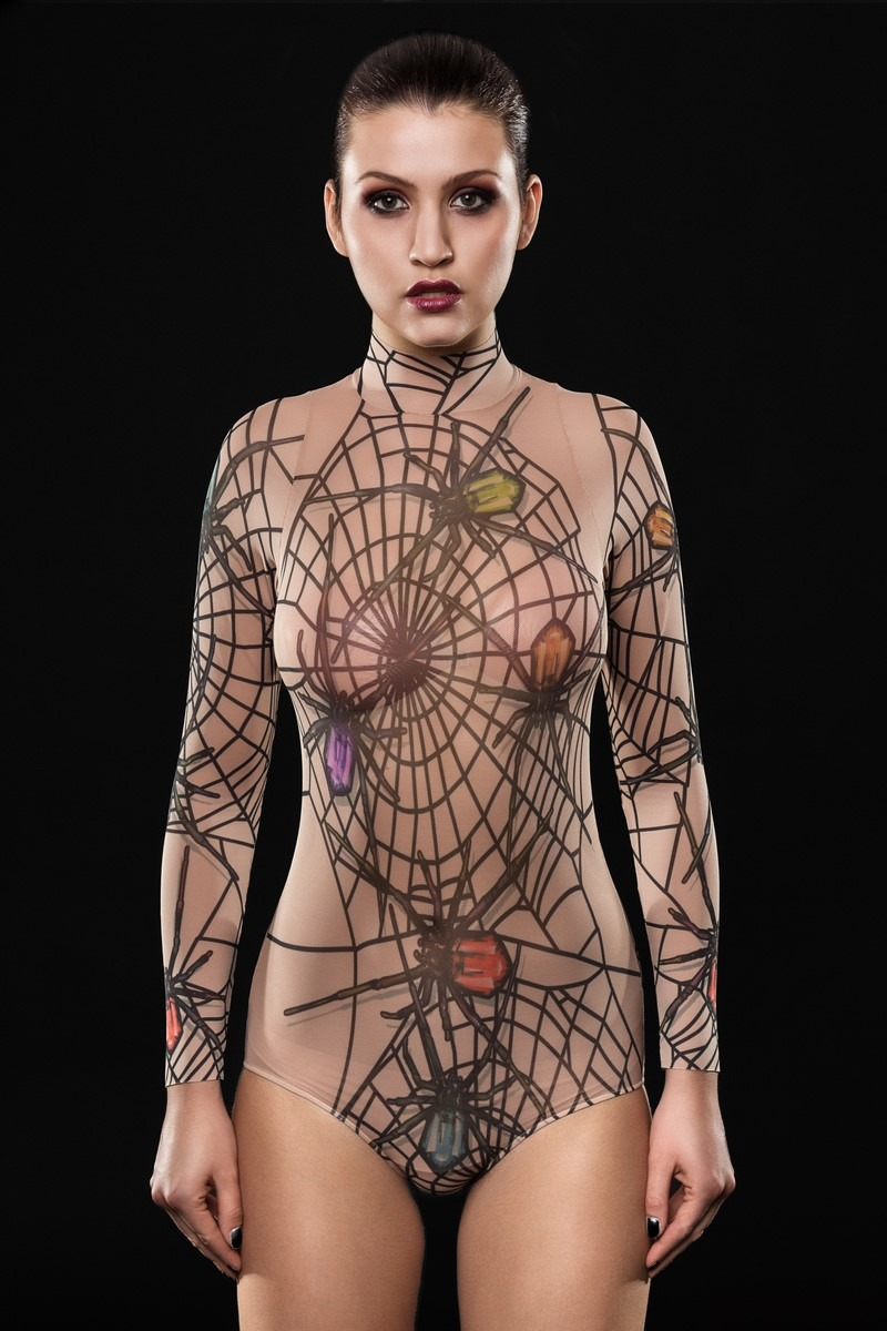Body Z Tatuażem Spider Queen Bluzki T Shirty Damskie Pakamerapl