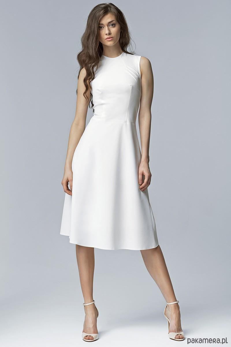 cf5a4c54b5 Elegancka sukienka MIDI s62 - ecru - sukienki - midi - Pakamera.pl