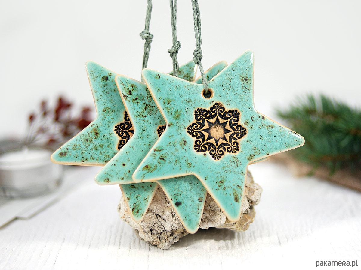 3 Ceramiczne Ozdoby świąteczne Gwiazdki Pakamerapl