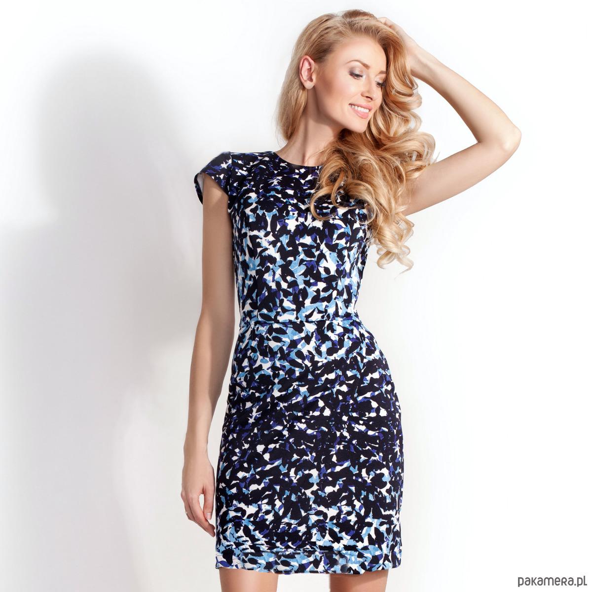 Sukienka Ołówkowa Sara Granatowo-Niebieski wzór