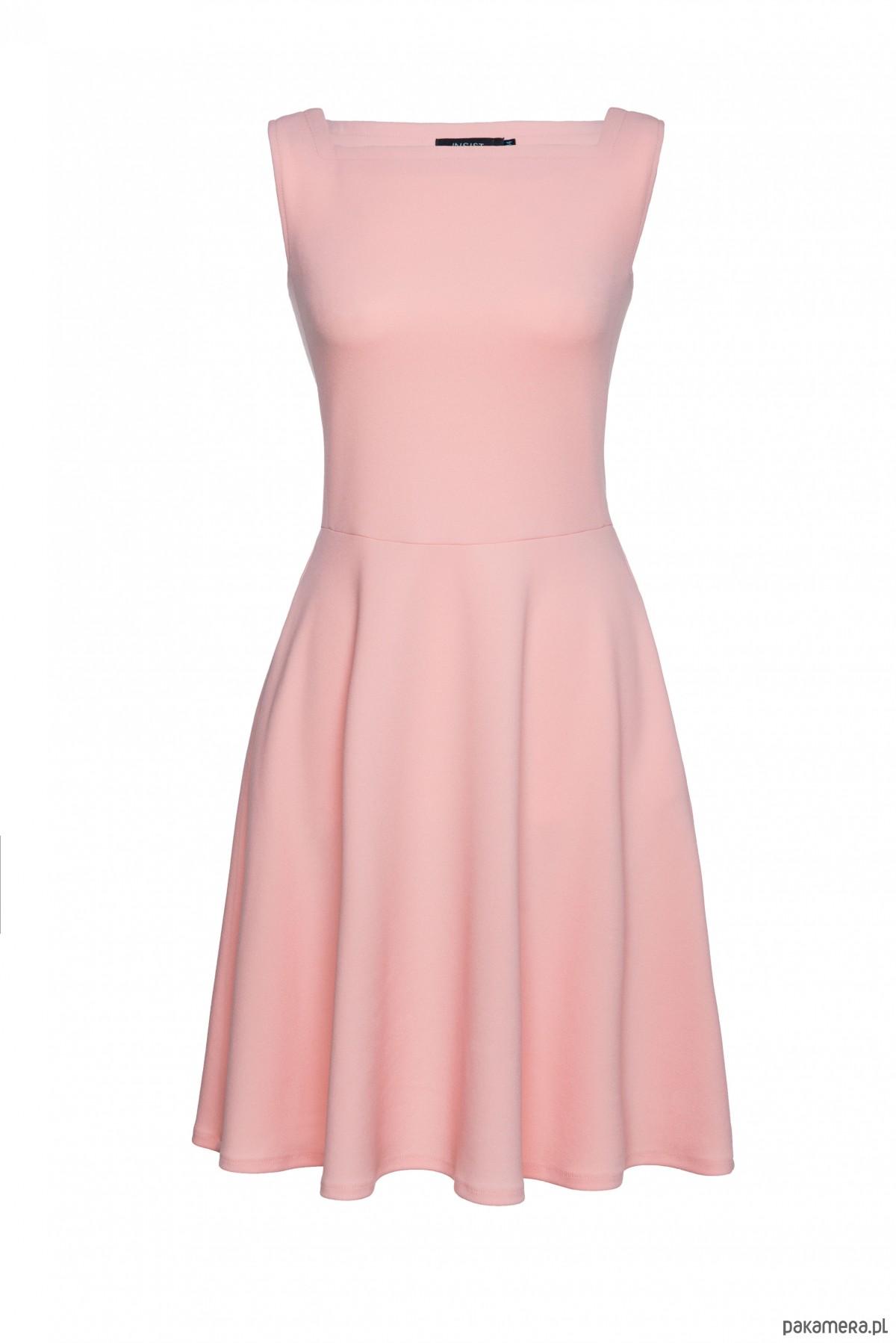 9f118ea8ab Sukienka rozkloszowana pudrowa różowa - sukienki - midi - Pakamera.pl
