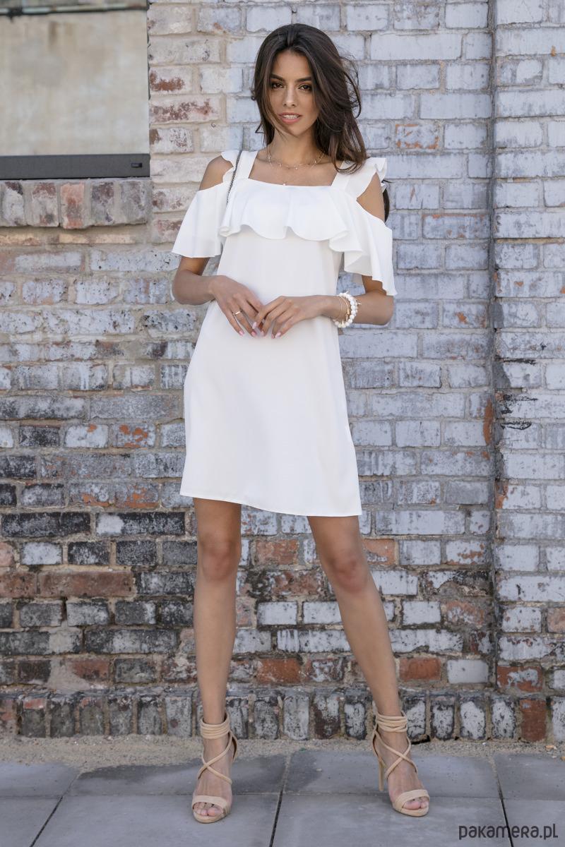 Sukienka koktajlowa ecru F536
