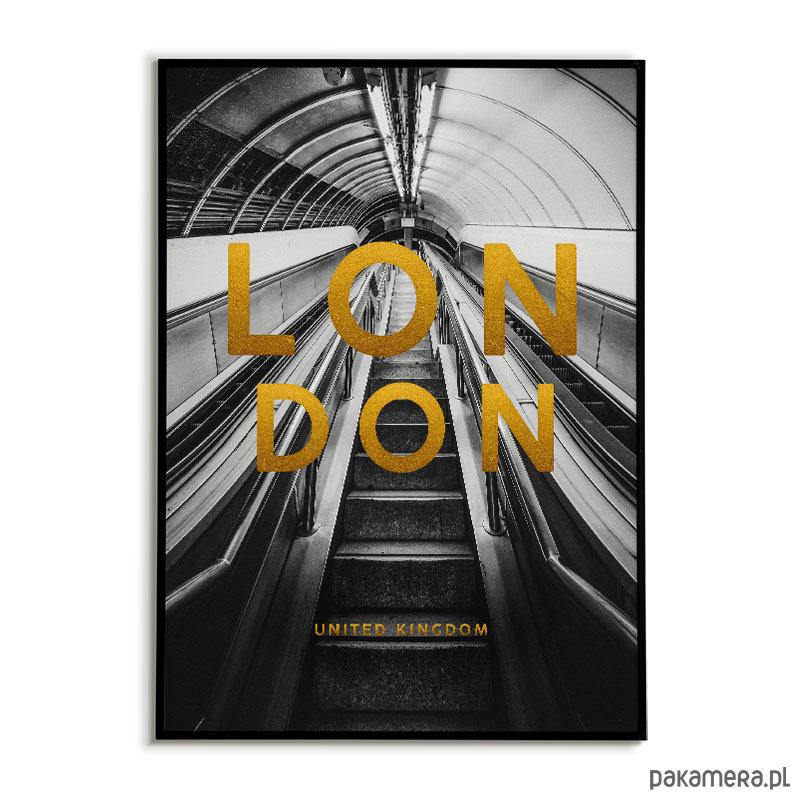Plakat Miasto Londyn Złote Napisy Pakamerapl