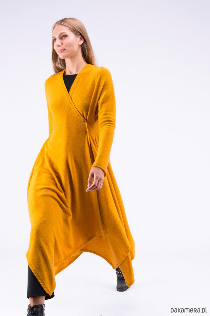 01252e44347b Sukienka ILUISSAT Szafranowa - sukienki - midi - Pakamera.pl