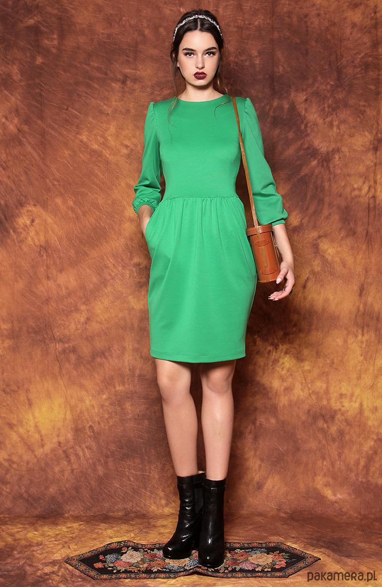fa35a39f8b Zielona sukienka z bufkami - sukienki - midi - Pakamera.pl
