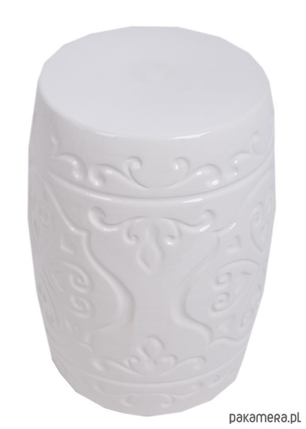 Stołek ceramiczny biały - meble - stołki QbWfGlwv