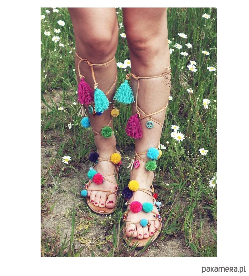 DELOS greckie sandałki boho z pomponami buty sandały i