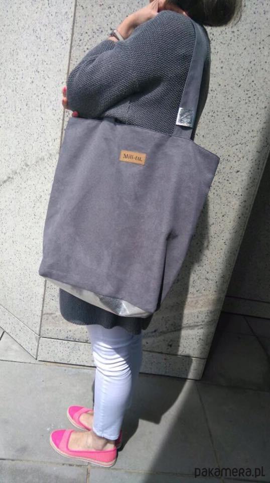 Duża torba Mili Chic szarasrebro
