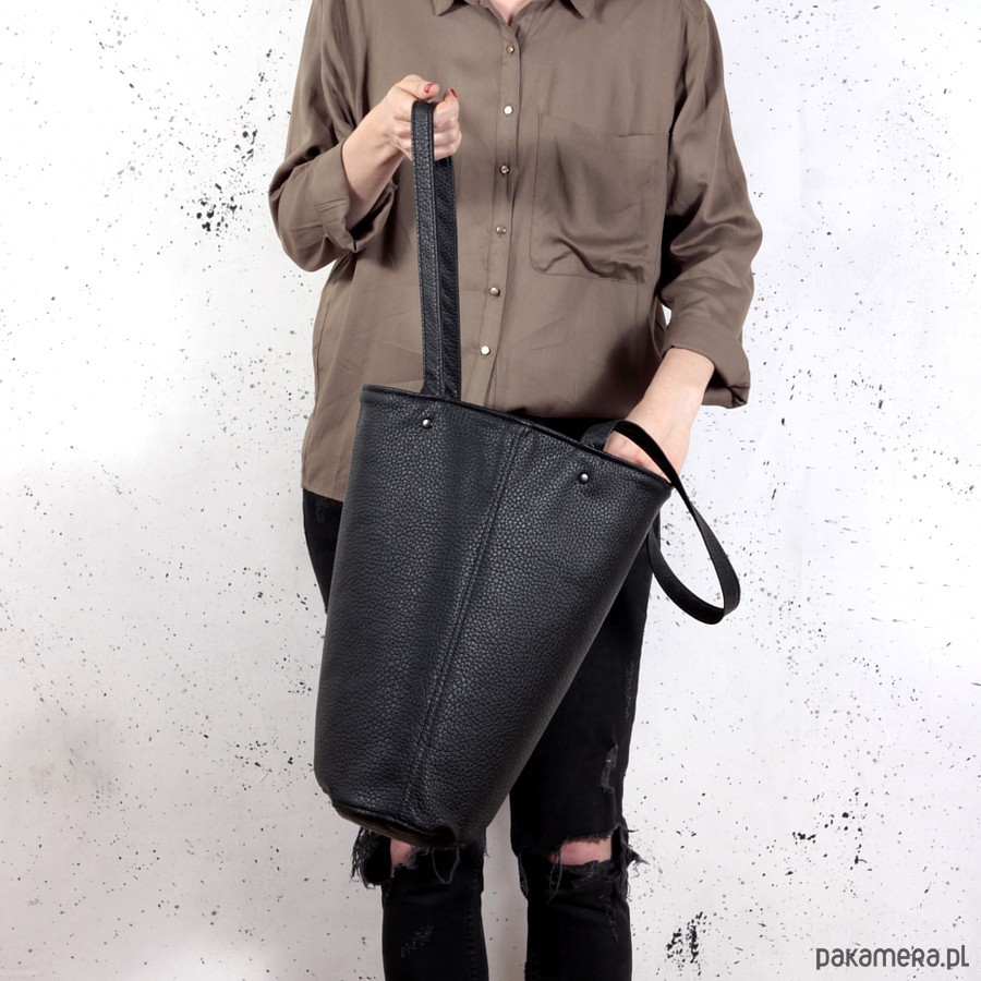 ea4ed2bb5da6c torby na ramię - damskie-Shopper bag XL czarna na zamek   pojemna torba