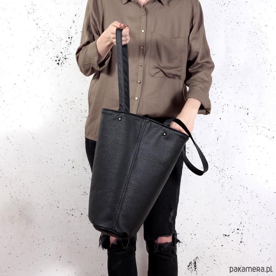 954d2cde8da43 torby na ramię - damskie-Shopper bag XL czarna na zamek   pojemna torba