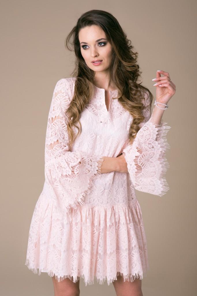 74c7591077 Koronkowa sukienka Kate Pink Lace - sukienki - midi - Pakamera.pl
