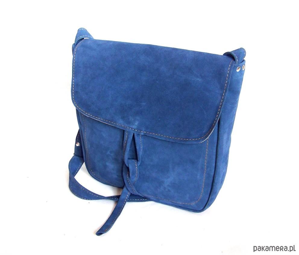 eebbd4b025c16 Teczka z troczkiem NIEBIESKI ZAMSZ A4 - torby na ramię - damskie ...
