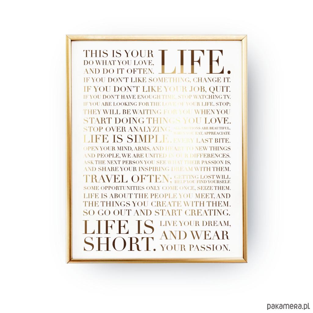 Plakat życiowa Motywacja Złoty Druk Pakamerapl