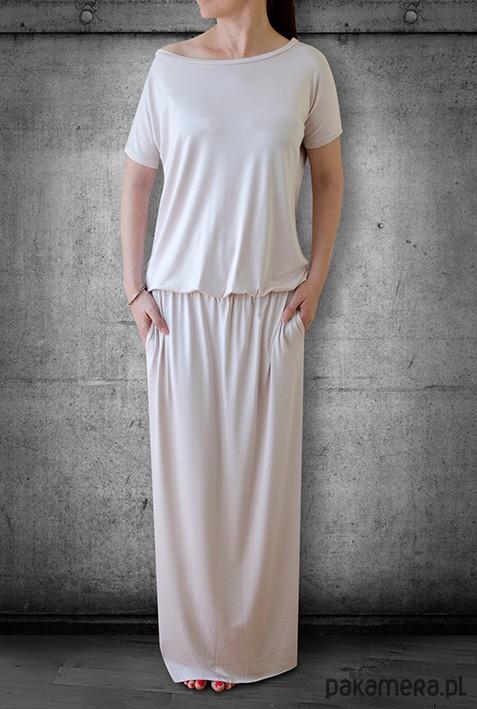 sukienka MAXI z kieszeniami - ecru