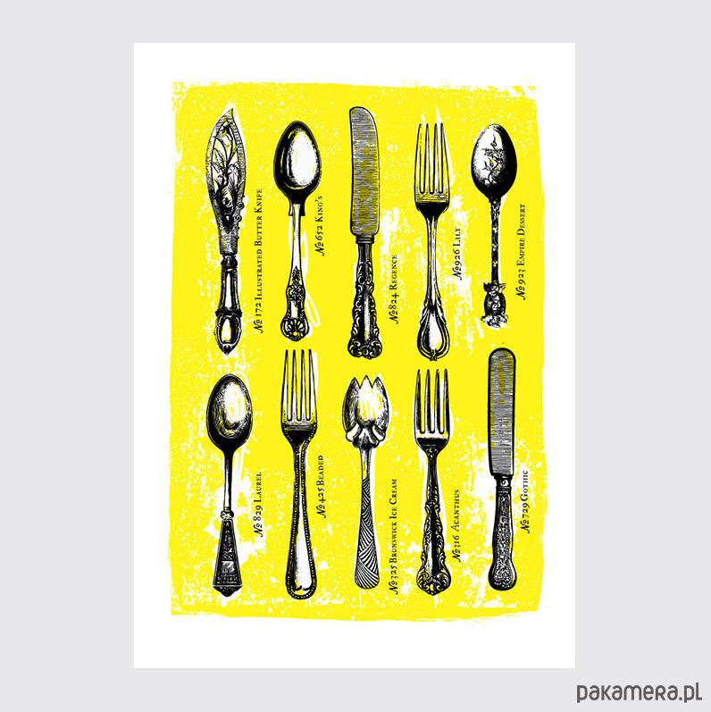 Plakat Do Kuchni Kolekcja Sztućców Vintage Pakamerapl