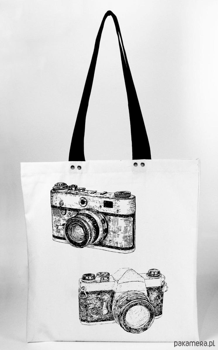 9303b8586b0a5 Aparaty - torba z grubej bawełny ręczny nadruk - torby na zakupy - damskie  - Pakamera.pl