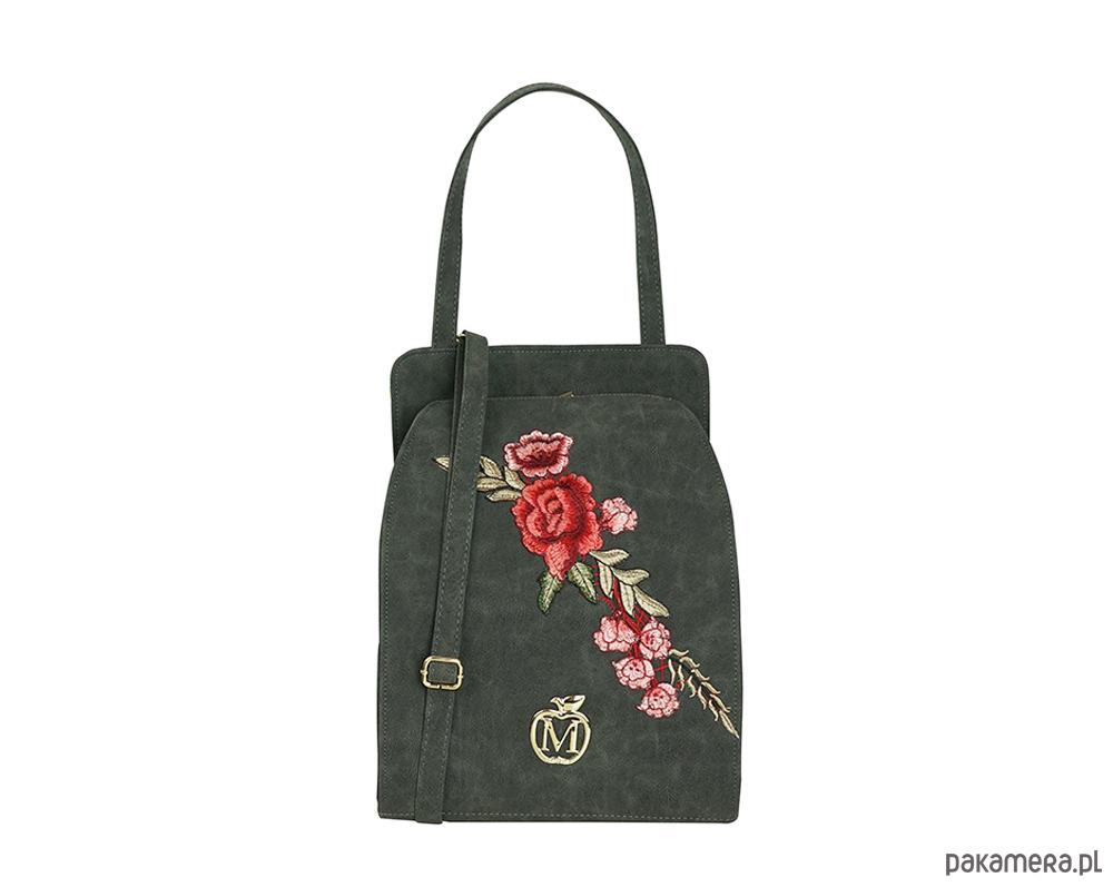 71fcd14826d28 torby na ramię - damskie-Stylowa torebka kuferek MANZANA róże GRAFITOWA