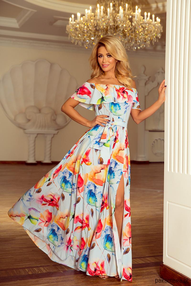 Sukienka LILIANA maxi empire malowane kwiaty