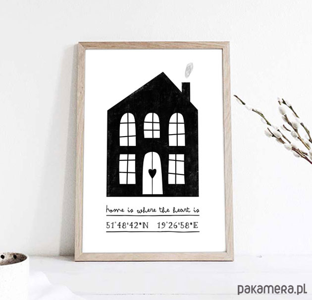 Spersonalizowany Plakat Wspolrzędne Domu A3 Pakamerapl