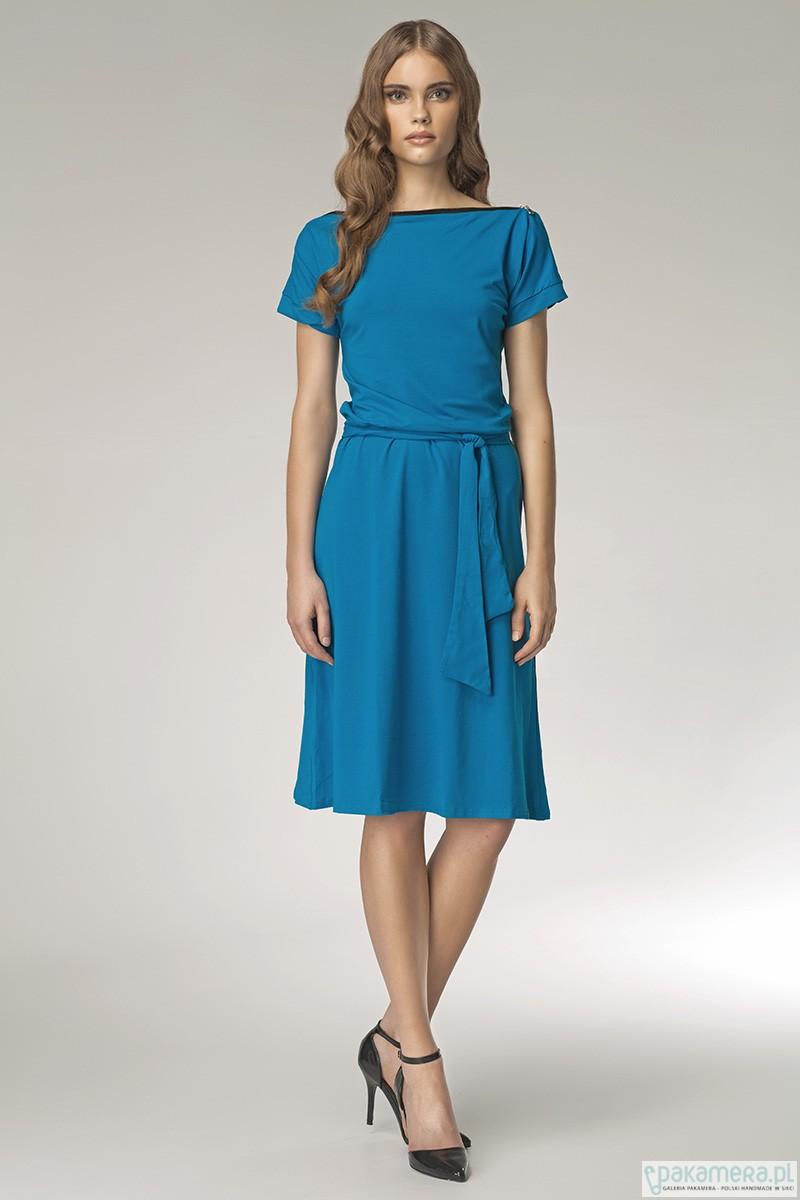 2b86e1acc1 Subtelna sukienka z zamkiem s13 - niebieski - sukienki - midi - Pakamera.pl