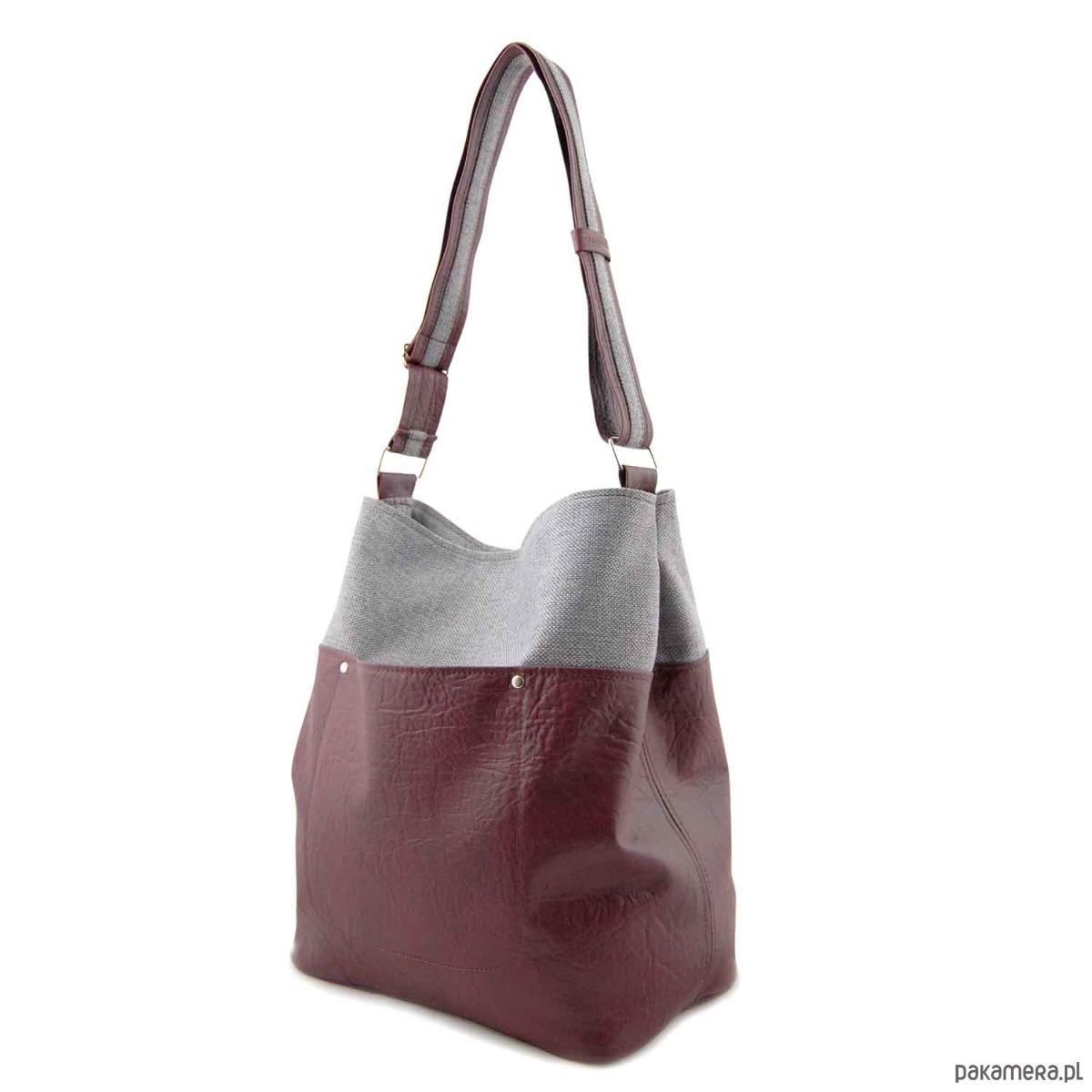 2ee8d8f40b38f FRIDA - torba worek - burgund i szara plecionka - torby na ramię - damskie  - Pakamera.pl