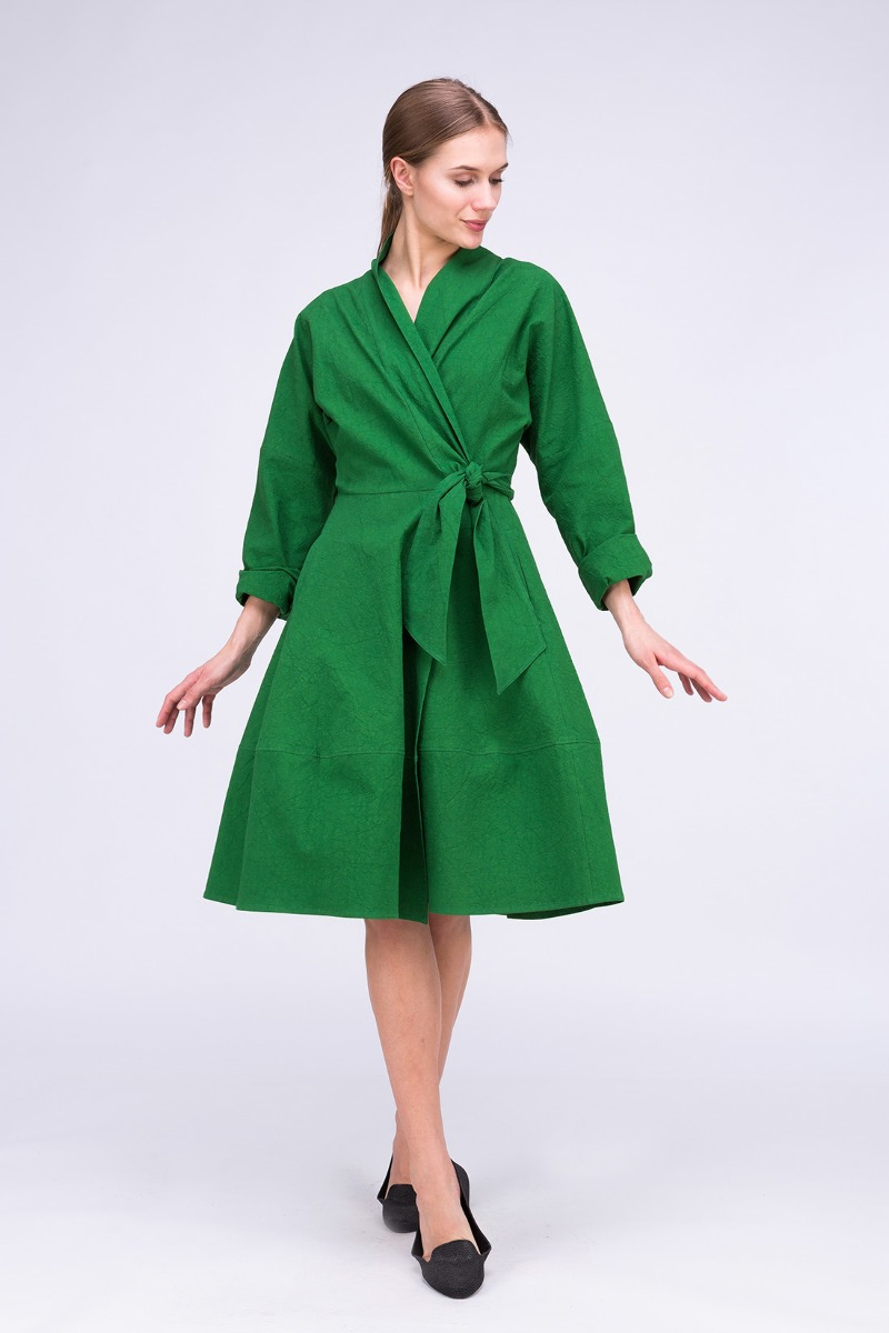 Sukienka- Płaszcz POLARIS Zielony