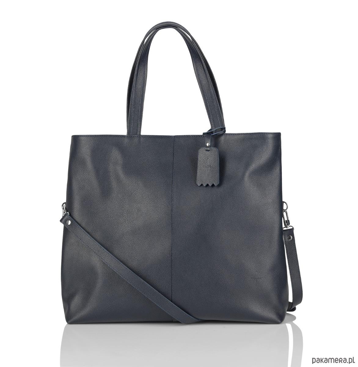 10af2bf739bd6 torby na zakupy - damskie-Skórzana pojemna torebka worek granatowa Jeanne
