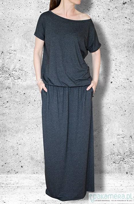 sukienka MAXI z kieszeniami - grafit