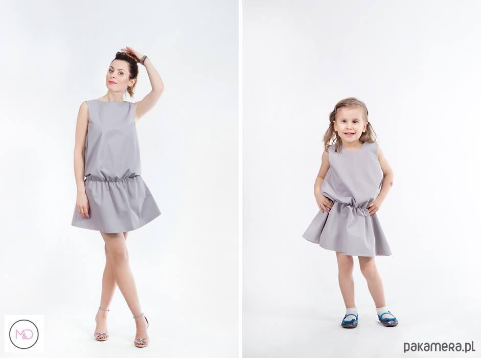 Zestaw 2 Szarych Sukienek Dla Mamy I Córki Sukienki Różne