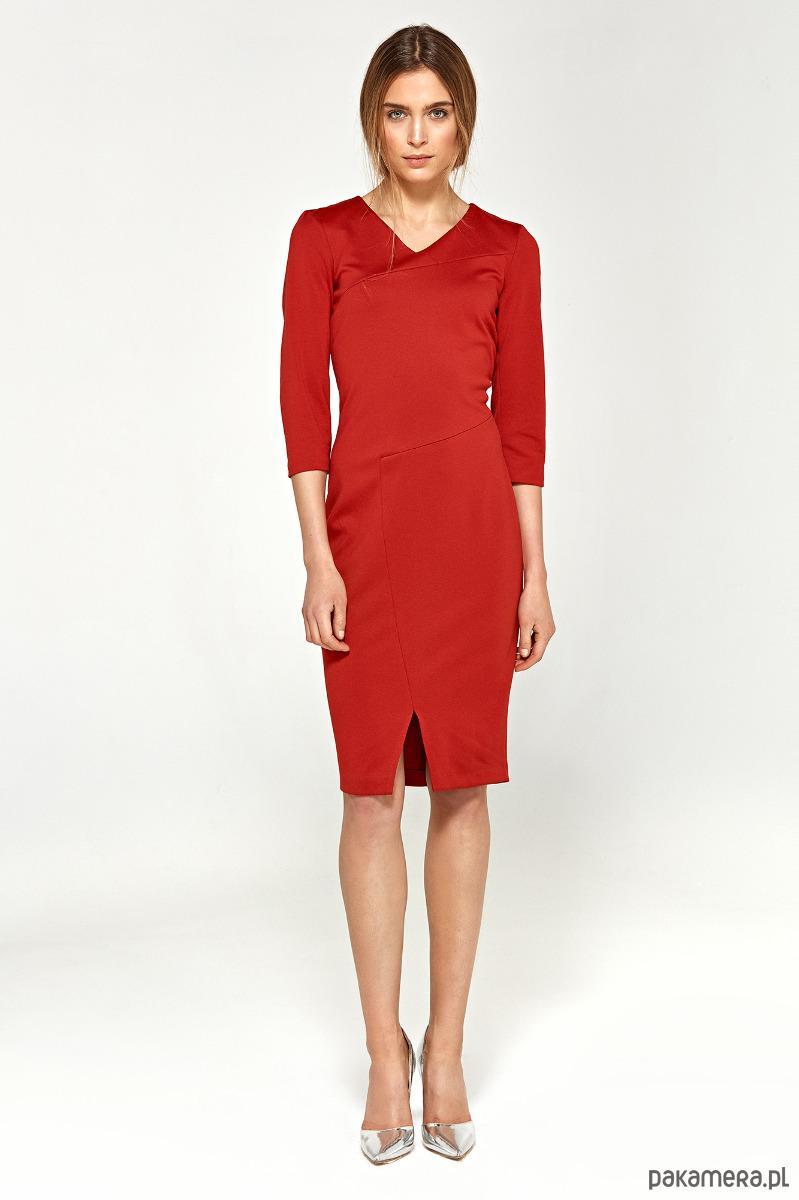 Sukienka z przeszyciami s96 - czerwony