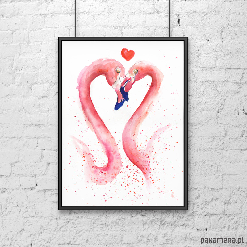 Zakochane Flamingi Plakaty Ilustracje Obrazy Inne Pakamerapl