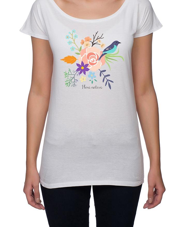 koszulka damska. kwiaty i ptaki