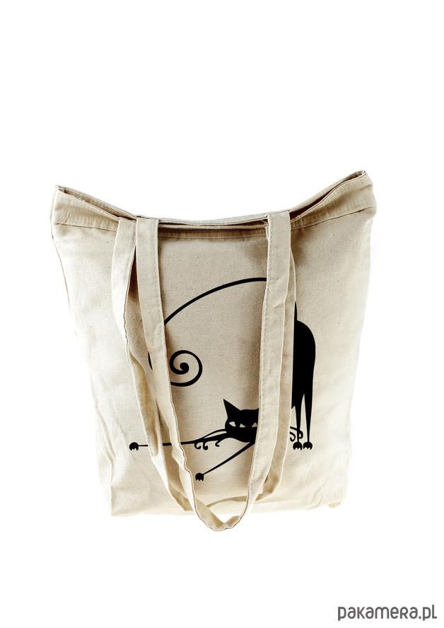 5d15fc3634f38 torby na zakupy - damskie-Torba zakupowa- Kot (zamek