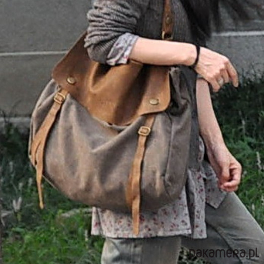ef43276cff5ca torby na ramię - damskie-TD2 Kawa MAIL VINTAGE™ Bawełna i skóra nat.